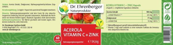 Acerola vitamín C so zinkom Dr. Ehrenberger